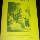 Shakespeare Quarterly Scholarly Journal Folger Library vol 26 Spring 1975 #2
