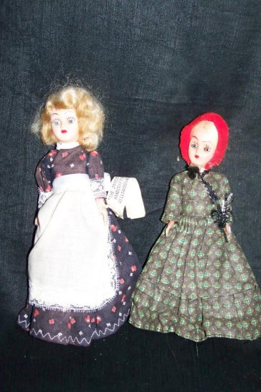 "Vintage 1960s Hard Plastic Colonial Dress 8"" Fashion Doll Lot"