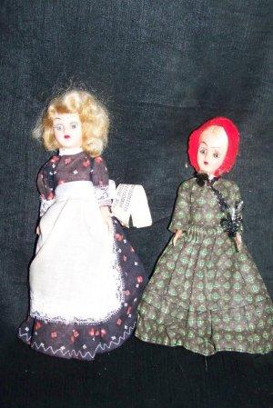 """Vintage 1960s Hard Plastic Colonial Dress 8"""" Fashion Doll Lot"""