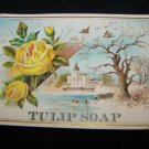 Antique TULIP SOAP Lithograph Embossed Rose Trade Card