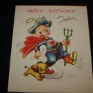 Vintage 1940s Superhero Father's Doubl-Glo Birthday Card