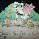 Antique Vintage 1930 Children Ride Scooter Rust Craft Birthday Card