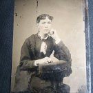 Antique Victorian Woman Lady Primly Dress Tintype Photo