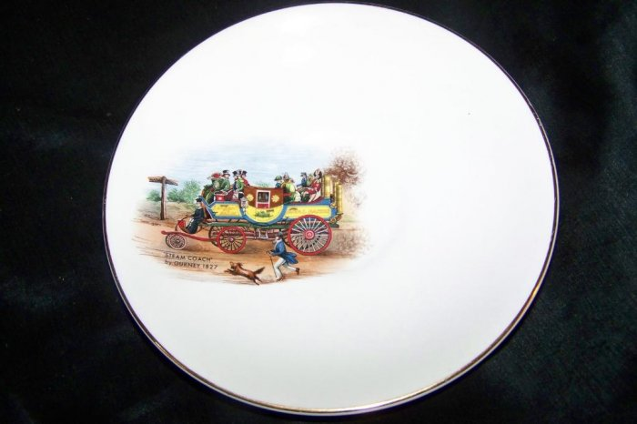 Vintage Lord Nelson Pottery Steam Coach Gurney Saucer Plate 4-72