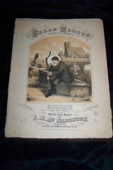 Antique 1867 BELLE MAHONE Cemetary Grave Sheet Music
