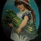 Antique Little Girl Bushel Vegetables Victorian Chromolithograph Trade Card