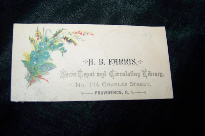 Antique News Depot Circulating Library Victorian Chromolithograph Calling Business Card