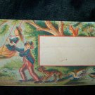 Antique Couple Swing Wildlife Chromolithograph Calling Business Card