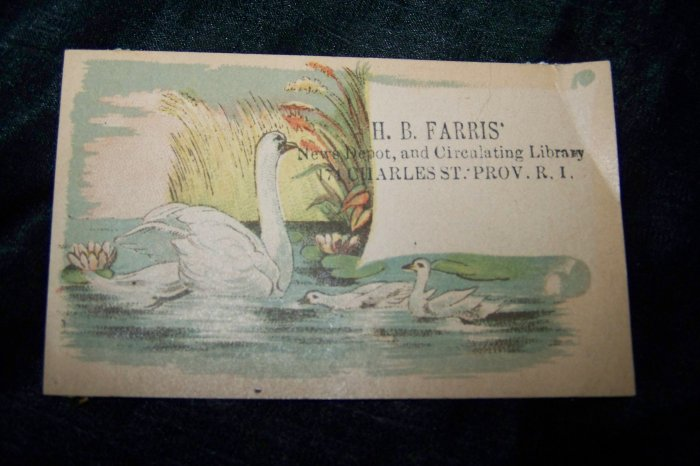 Antique News Depot Circulating Library SWANS Victorian Chromolithograph Calling Business Card