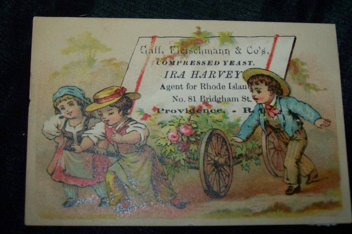 Antique Children & Flower Cart Chromolithograph Victorian Trade Card Tradecard