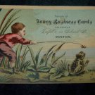 Antique Little Boy & Frog Cart Chromolithograph Victorian Fancy Business Trade Card Tradecard