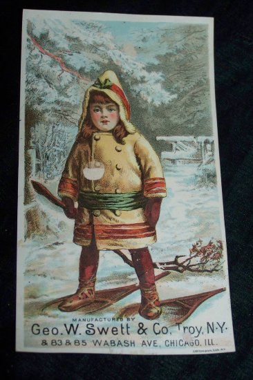 Antique Child Snow Shoes Stove Chromolithograph Victorian Trade Card Tradecard