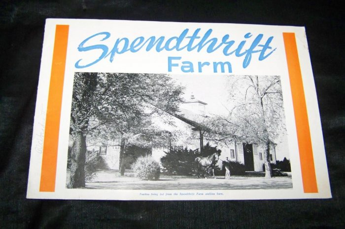 Vintag 1950s SPENDTHRIFT FARM KY Race Horse Stallion Catalog