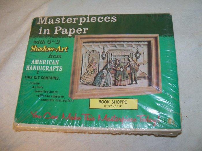 Vintage Masterpieces Shadow Art 3d BOOK SHOPPE Shop New Mint Kit