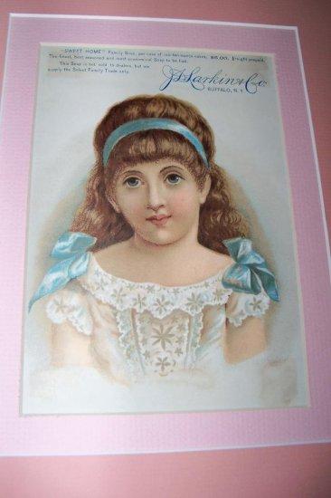 Victorian SWEET HOME Girl Larkins Label Chromo Lithograph