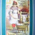 Victorian Trade Card Laundry Wringer Girl Chromo Litho