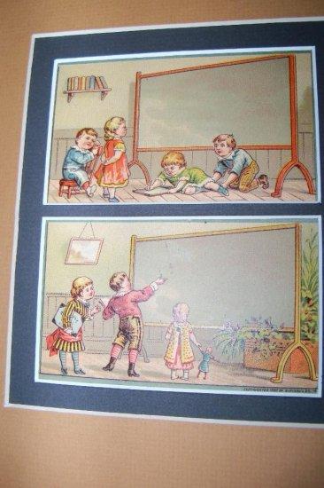 Antique Victorian Trade Card Children Chalkboard Lot 2