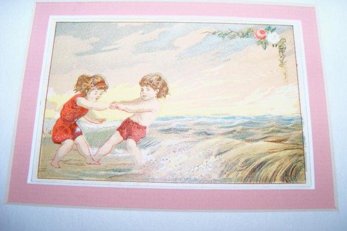 Victorian 1880 Trade Card Children Playing Ocean Beach