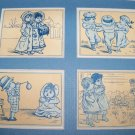 Antique Victorian Trade Card Playing Children Lot 4 Mat