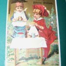 Antique Victorian Trade Card Stove Polish Children