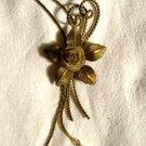 Vintage 1970s ROSE FLOWER LEAF Leaves Bolo-Tie Women's Necklace Chain Gold Tone Mesh