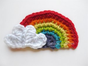 Crochet Rainbow with Heart Clouds
