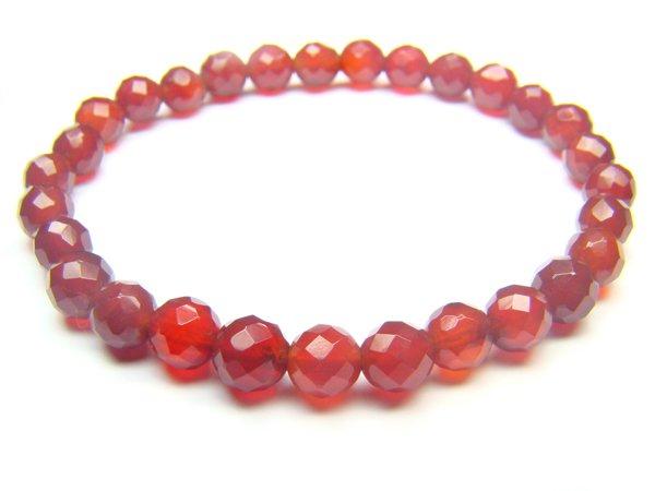 BAGXRS0800X Red Agate Round Shape 6mm Cut Bracelet
