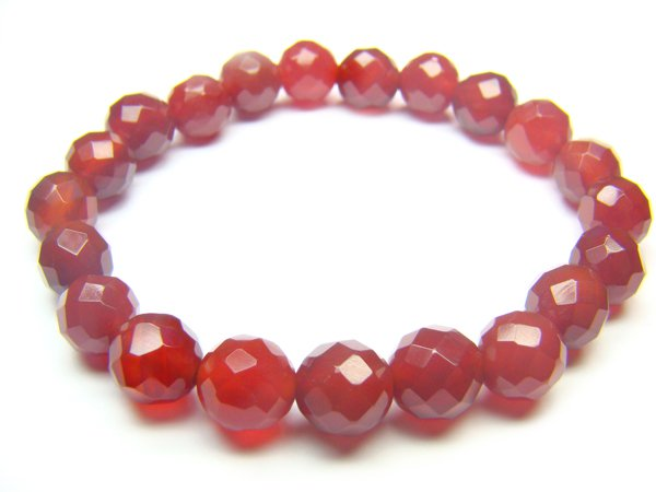 BAGXRS1000X Red Agate Round Shape 8mm Cut Bracelet