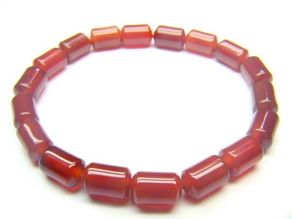 BAGXRE0712X Red Agate Cylinder Shape 6x9mm Bracelet
