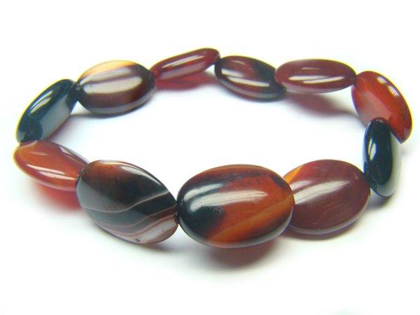 BAGRSS0812X Dark Red Agate Oval Shape 13x18mm Bracelet