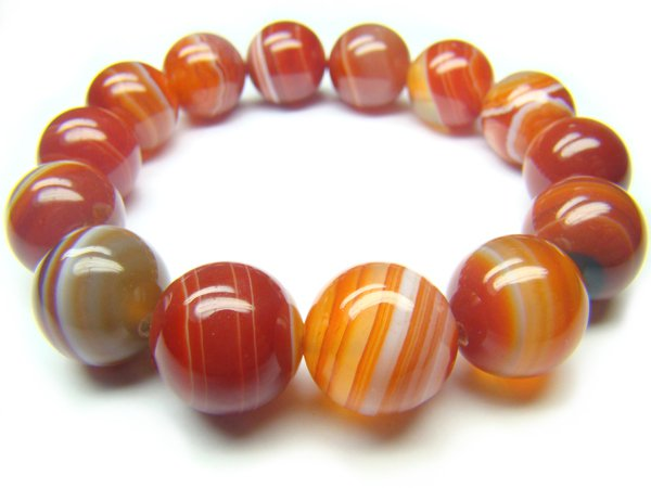 BAGERS0600C Red Agate wt Lace Round Shape 14mm Bracelet