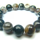 BAGBRS1400X Black & White Agate Round Shape 12mm Bracelet
