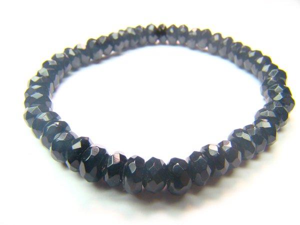 BONXDO0308X Onyx Donut Shape 4x6mm Cut Bracelet