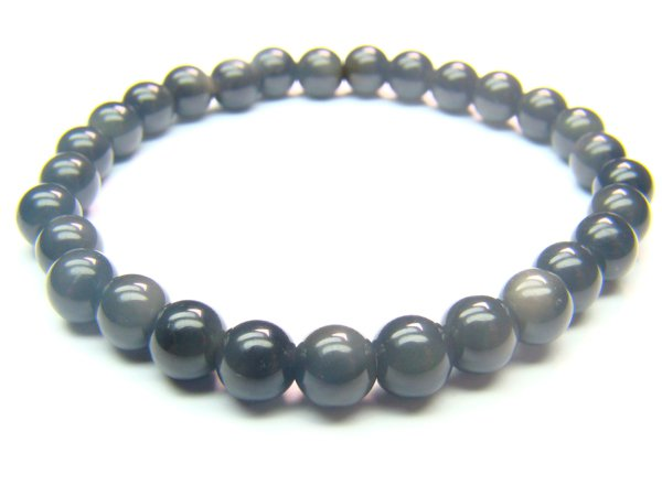 BOBXRS0800X Obsidian  Round Shape  6mm Bracelet