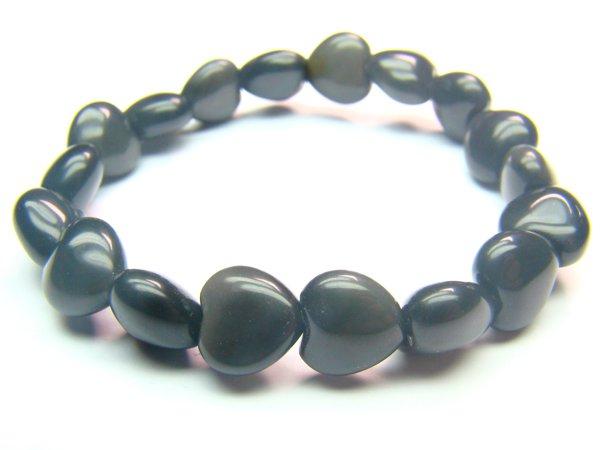 BOBXHS1200X Obsidian  Heart Shape  10mm Bracelet