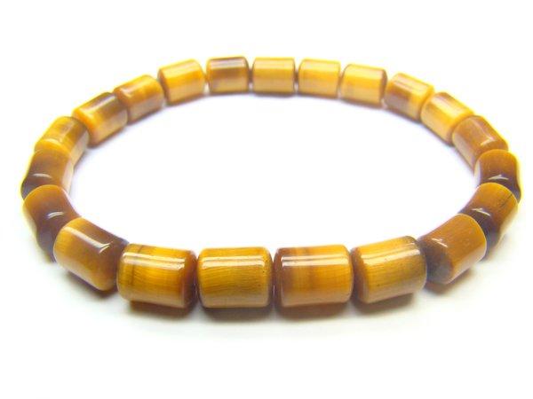 BTEXWH0408X Tiger Eye  Cylinder Shape  6x8mm Bracelet