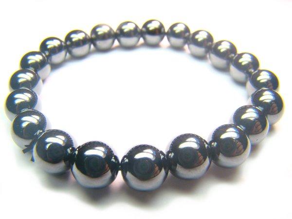 BHEXRS1000X Hematite Round Shape 8mm Bracelet