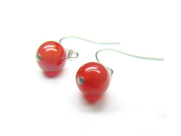 EAGXRS0800C Red Agate Round Shape 8mm Earrings