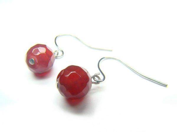 EAGXRS1000X Red Agate Round Shape 8mm Cut Earrings