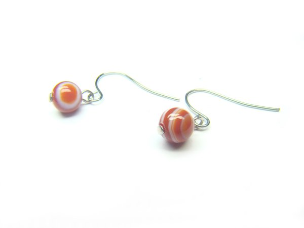 EAGERS0800X Red Agate wt Lace Round Shape 6mm Earrings