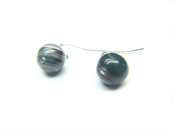 EBOTRS0800X Black & White Agate Round Shape 10mm Earrings
