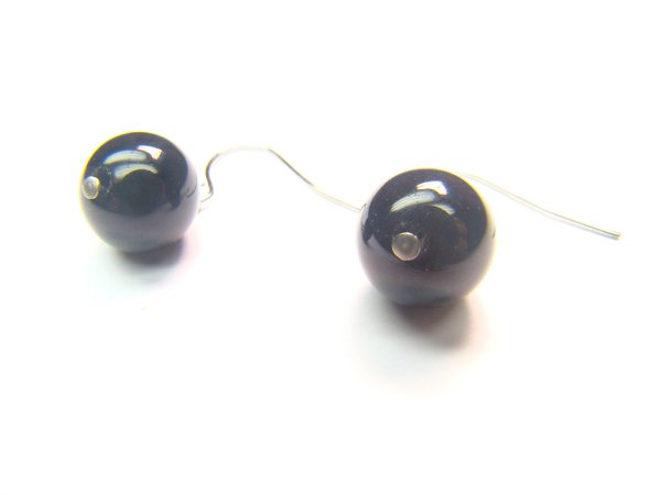 EONXRS1000C Onyx Round Shape 10mm Earrings