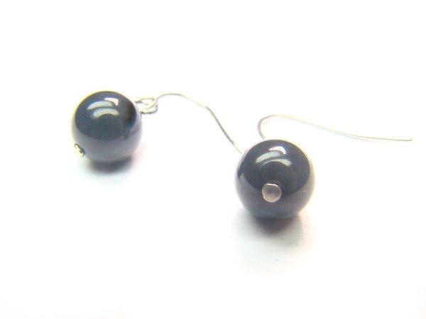 EOBXRS1000X Obsidian  Round Shape  8mm Earrings