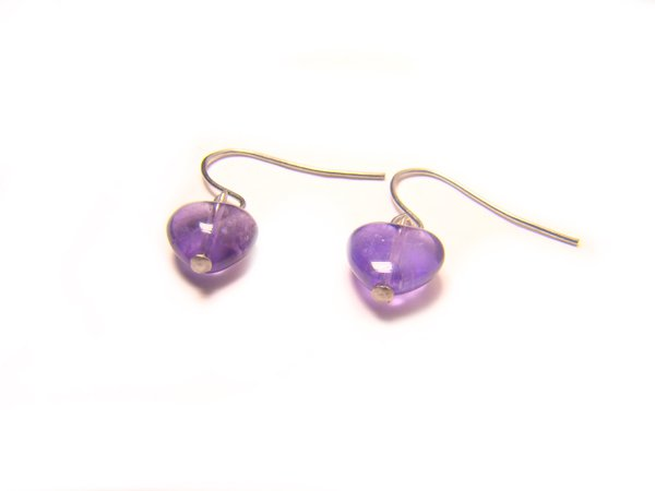 EAMXHS1000X Amethyst  Heart Shape  8mm Earrings
