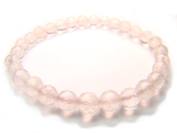 BRQXRS0800C Rose Quartz Round Shape 6mm Cut Bracelet