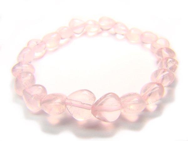 BRQXHS1000X Rose Quartz Heart Shape 8mm  Bracelet