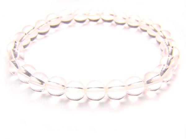BRCXRS0800X Clear Quartz Round Shape 6mm  Bracelet