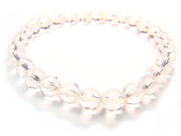 BRCXRS0800C Clear Quartz Round Shape 6mm Cut Bracelet