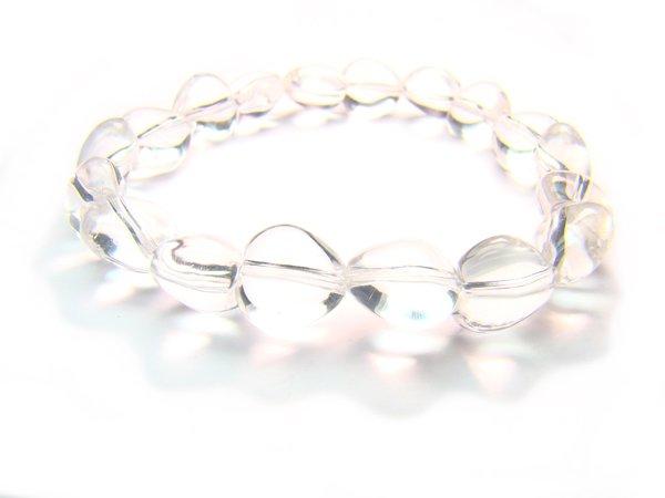 BRCXPS0608C Clear Quartz Heart Shape 10mm  Bracelet