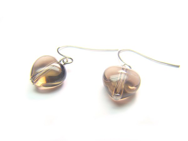 ESQXRE0710X Smoky Quartz Heart Shape 10mm  Earrings